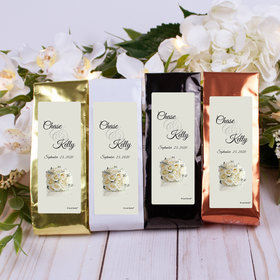 Personalized Wedding Columbian Coffee - White Roses