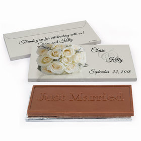 Deluxe Personalized Wedding White Roses Chocolate Bar in Gift Box