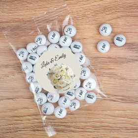 Personalized Wedding White Roses Candy Bag with JC Chocolate Minis