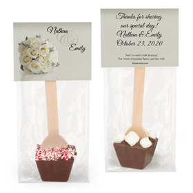 Personalized Wedding White Roses Hot Chocolate Spoon
