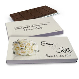 Deluxe Personalized Wedding White Roses Belgian Chocolate Bar in Gift Box (3oz Bar)