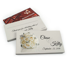 Deluxe Personalized Wedding White Roses Belgian Chocolate Parve Bar in Gift Box (3.5oz Bar)