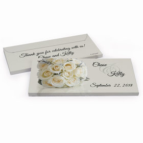 Deluxe Personalized Wedding White Roses Hershey's Chocolate Bar in Gift Box