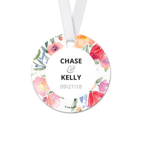Personalized Round Watercolor Flowers Wedding Favor Gift Tags (20 Pack)