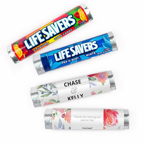 Personalized Wedding Watercolor Flower Lifesavers Rolls (20 Rolls)