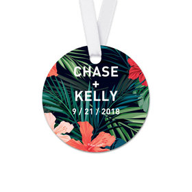 Personalized Round Tropical Wedding Favor Gift Tags (20 Pack)