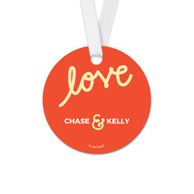 Personalized Round Script Love Wedding Favor Gift Tags (20 Pack)