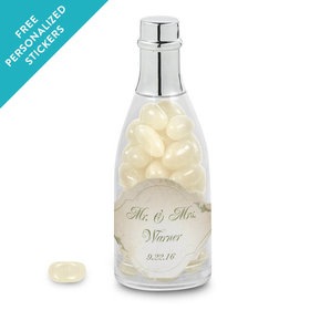 Wedding Favor Personalized Champagne Bottle Monogram and Leaves (25 Pack)