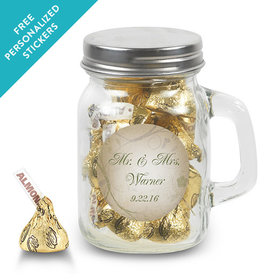 Wedding Favor Personalized Mini Mason Jar Monogram and Leaves (12 Pack)