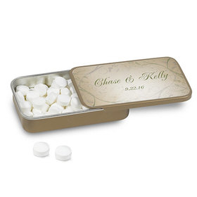 Wedding Favor Personalized Gold Mint Tin Monogram and Leaves (12 Pack)
