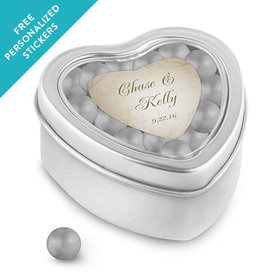Wedding Favor Personalized Small Heart Tin Monogram and Leaves (25 Pack)