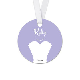 Personalized Round Bride's Dress Wedding Favor Gift Tags (20 Pack)