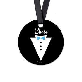Personalized Round Groom's Tux Wedding Favor Gift Tags (20 Pack)