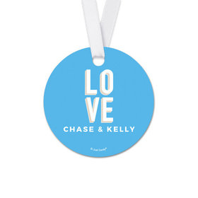 Personalized Round Bold Love Wedding Favor Gift Tags (20 Pack)