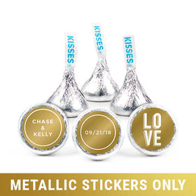 "Personalized Metallic Wedding Bold Love 3/4"" Stickers (108 Stickers)"
