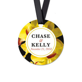 Personalized Round Bloom Wedding Favor Gift Tags (20 Pack)