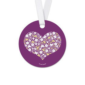 Round Hearts & Flowers Wedding Favor Gift Tags (20 Pack)