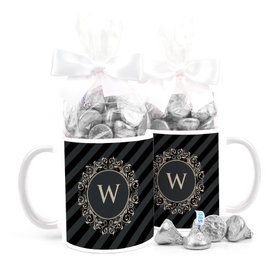 Personalized Wedding Regal Stripes 15oz Mug with Hershey's Kisses