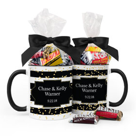 Personalized Wedding Bold Stripes 11oz Mug with Hershey's Miniatures