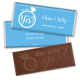 Engagement Party Favor Personalized Embossed Chocolate Bar She Said Yes! Ring