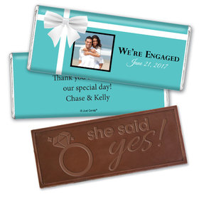 Engagement Party Personalized Embossed Chocolate Bar Tiffany Style Present