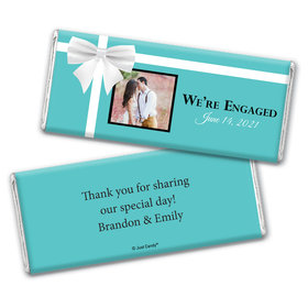 Engagement Party Personalized Chocolate Bar Wrappers Tiffany Style Present