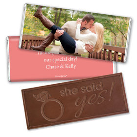 Engagement Party Favor Personalized Embossed Chocolate Bar Full Photo