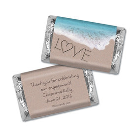 Engagement Party Personalized Hershey's Miniatures Wrappers Sand Writing Love by the Sea