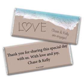 Engagement Party Personalized Chocolate Bar Wrappers Sand Writing Love by the Sea