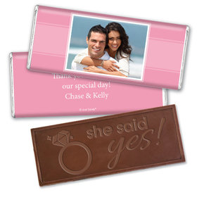Engagement Party Favor Personalized Embossed Chocolate Bar Photo