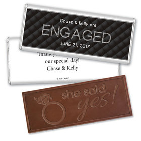 Engagement Party Personalized Embossed Chocolate Bar Chanel Inspired Quilted Engaged!