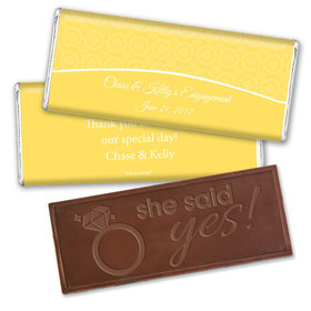Engagement Party Favor Personalized Embossed Chocolate Bar Sunburst Hearts Pattern
