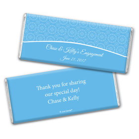 Engagement Party Favor Personalized Chocolate Bar Sunburst Hearts Pattern