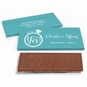 Deluxe Personalized Engagement She Said Yes! Ring Chocolate Bar in Gift Box