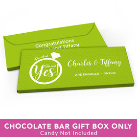 Deluxe Personalized Engagement She Said Yes! Ring Candy Bar Favor Box