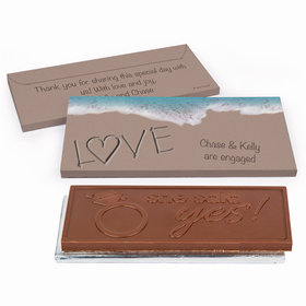 Deluxe Personalized Engagement Sand Writing Love by the Sea Chocolate Bar in Gift Box