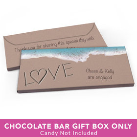 Deluxe Personalized Engagement Sand Writing Love by the Sea Candy Bar Favor Box