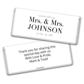 Personalized Lesbian Wedding To Become One Chocolate Bar & Wrapper with Gold Foil
