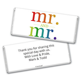 Personalized Gay Wedding Mr. & Mr. Rainbow Chocolate Bar & Wrapper