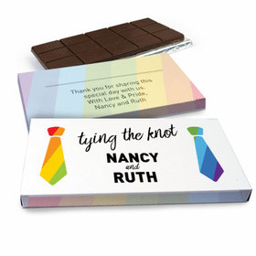 Deluxe Personalized LGBT Wedding Tying the Knot Chocolate Bar in Gift Box (3oz Bar)