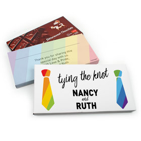 Deluxe Personalized LGBT Wedding Tying the Knot Chocolate Parve Bar in Gift Box (3.5oz Bar)