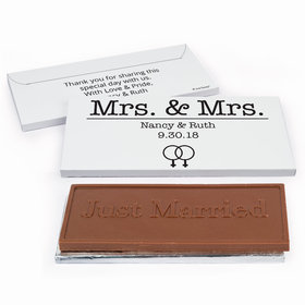 Deluxe Personalized Lesbian Wedding Mrs. & Mrs. Chocolate Bar in Gift Box