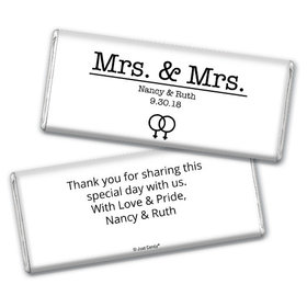 Personalized Lesbian Wedding Mrs. & Mrs. Chocolate Bar & Wrapper