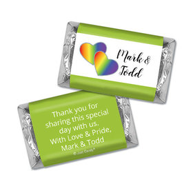 Personalized LGBT Wedding Rainbow Hearts Hershey's Miniatures