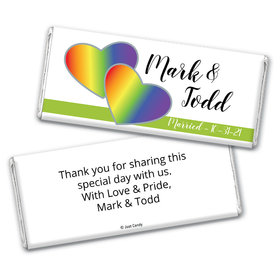 Personalized LGBT Wedding Rainbow Hearts Chocolate Bar Wrappers Only