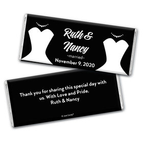 Personalized Lesbian Wedding Bride & Bride Chocolate Bar Wrappers Only