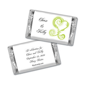 Rehearsal Dinner Personalized Hershey's Miniatures Wrappers Swirled Hearts