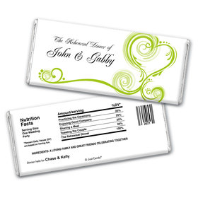 Rehearsal Dinner Personalized Chocolate Bar Wrappers Swirled Hearts