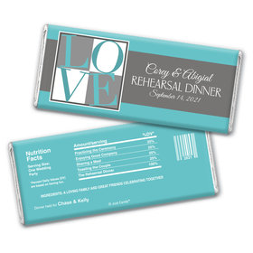 Rehearsal Dinner Personalized Chocolate Bar Wrappers Pop Art Love Square