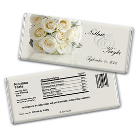 Wedding Rehearsal Dinner Personalized Chocolate Bar Wrappers White Bouquet